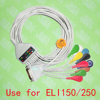 Compatible with 15PIN Mortara ELI 150/250 EKG the One-piece 10 lead ECG cable and Snap leadwires,IEC or AHA. image