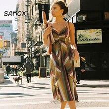 2019 New Summer Beach Dress Fashion Women Stripe Printing Pleated Split Chiffon Holiday Dress