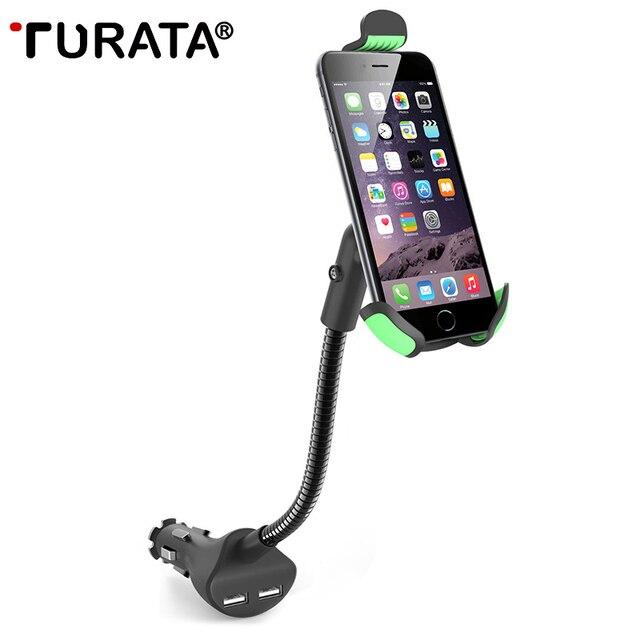 Turata suporte do telefone universal gooseneck montar titular do telefone do carro com 2.1a carregador dual usb para iphone samsung & outros smartphones