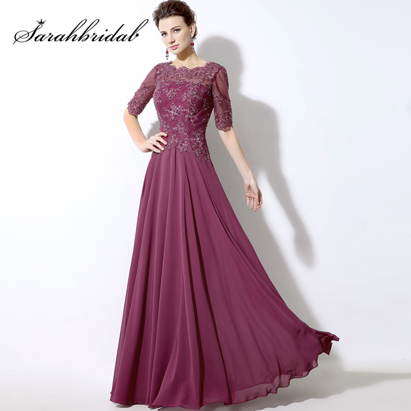 New Mauve Chiffon Long Evening Dresses With Illusion Half Sleeve Top Sequined Lace Applique Elegant Party