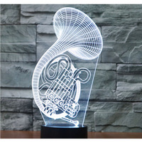 3D LED Night Light Music Saxophone With 7 Colors Light For Home Decoration Lamp Amazing Visualization