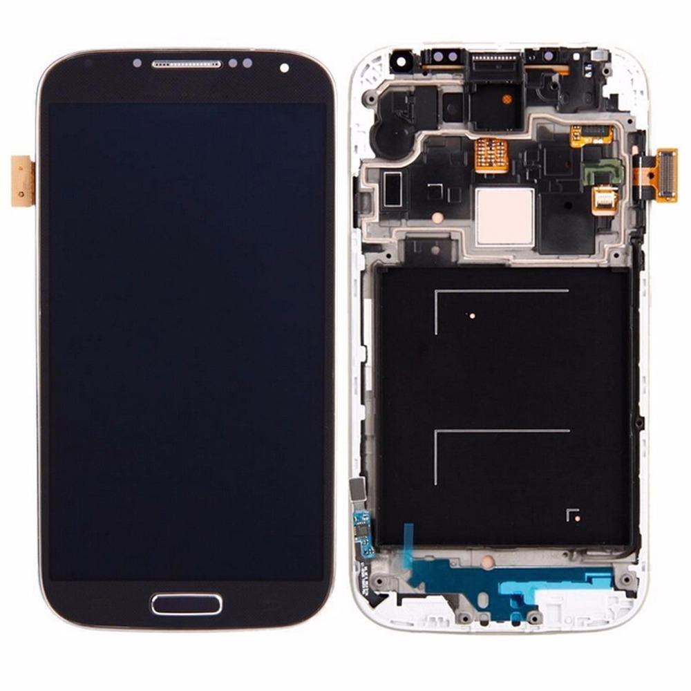 Blue Color i9500 LCD Screen Display Digitizer Frame Assembly For Samsung Galaxy S4 IV i9500 LCD
