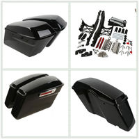 Motorcycle Glossy Hard Saddlebags W/ One Touch Latch Cover Key For Harley Touring 2014 2017 FLHT FLHTCU FLHRC 14 16