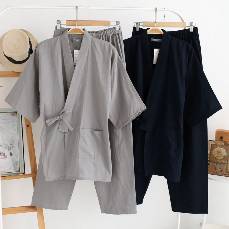 QWEEK Autumn Male Pajamas Sets 100% Cotton Kimono Sleepwear Japanese Style 2 Pieces