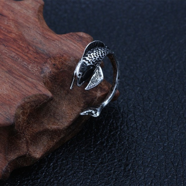 Punk Vintage Silver Men Ring  with Animal Designs