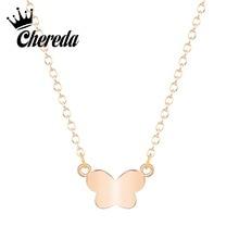 Chereda Charm Cartoon Butterfly Necklace for Women Elegant Delicate Jewelry Birthday Chain Choker Pendant Classic Gift недорго, оригинальная цена