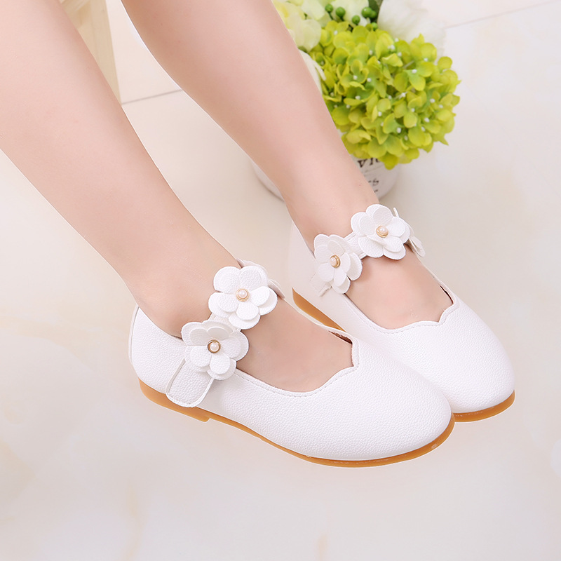 1-12 Year Old Kids Baby Toddler Flower Children Wedding Party Dress Princess Leather Shoes For Girls School Dance Shoes White