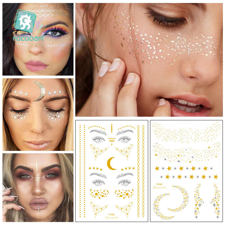 Rocooart Gold Face Tattoo Freckles Make Up Fake Tattoo Eye Flash Taty Body Art Waterproof Temporary Sprinkles Star Moon Tattoos