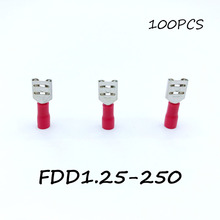 Insulated Female Disconnector FDD1.25-250 100PCS/Pack Red Spade Quick Electrical Connector Crimp Wire Terminal AWG Terminator