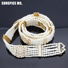 Chaîne de taille de perle pour femmes, chaîne de ventre luxueuse, longueur réglable, bijoux pour mariées indiennes et nigérianes, ceinture de perles de fleurs, 2018