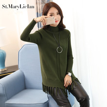 Medium Long Sweaters and Pullovers Women 2017 New Fashion Knitting Coat Casual Long Sleeved solid Tassel Female Knitwear