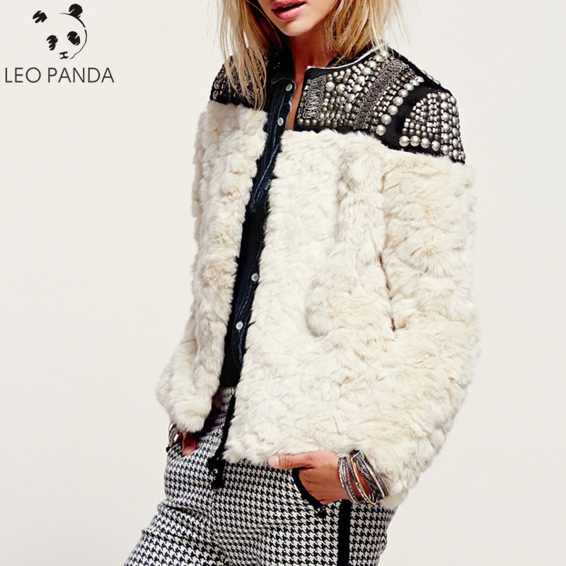 2019 High Quality New Autumn Winter  Rivet Patchwork Female's Rabbit Fur Coat Jaqueta Feminina Jacket