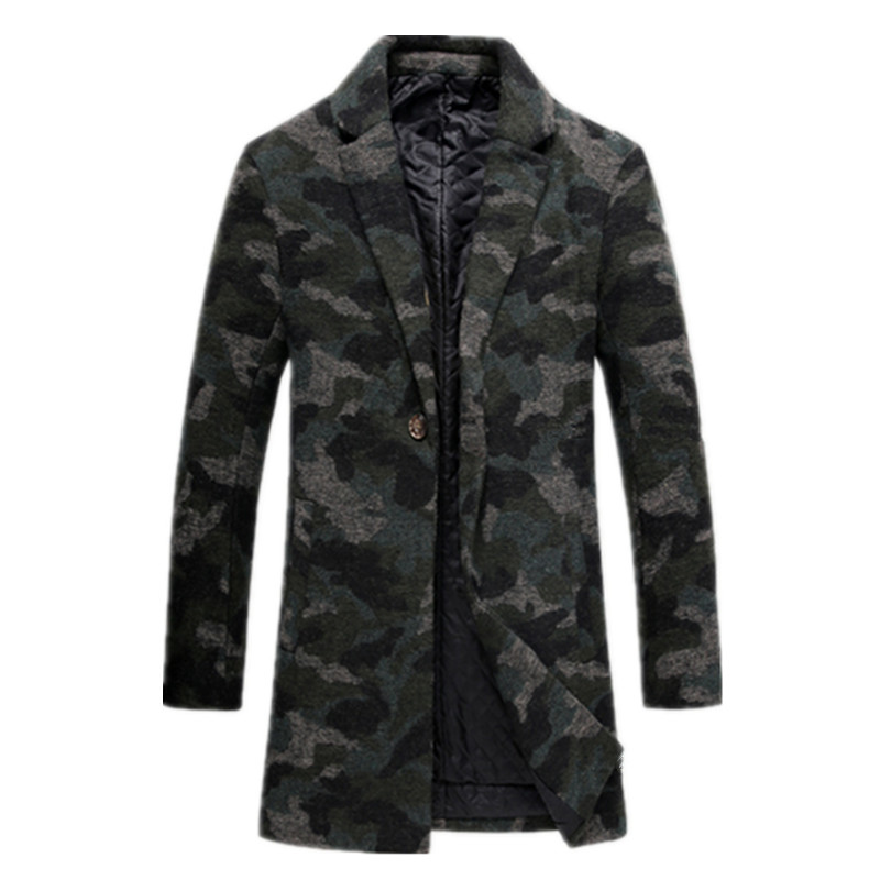 2017 new winter Men's fashion, cultivate one's morality Camouflage colors trench coat Men's casual windbreaker jacket FY109