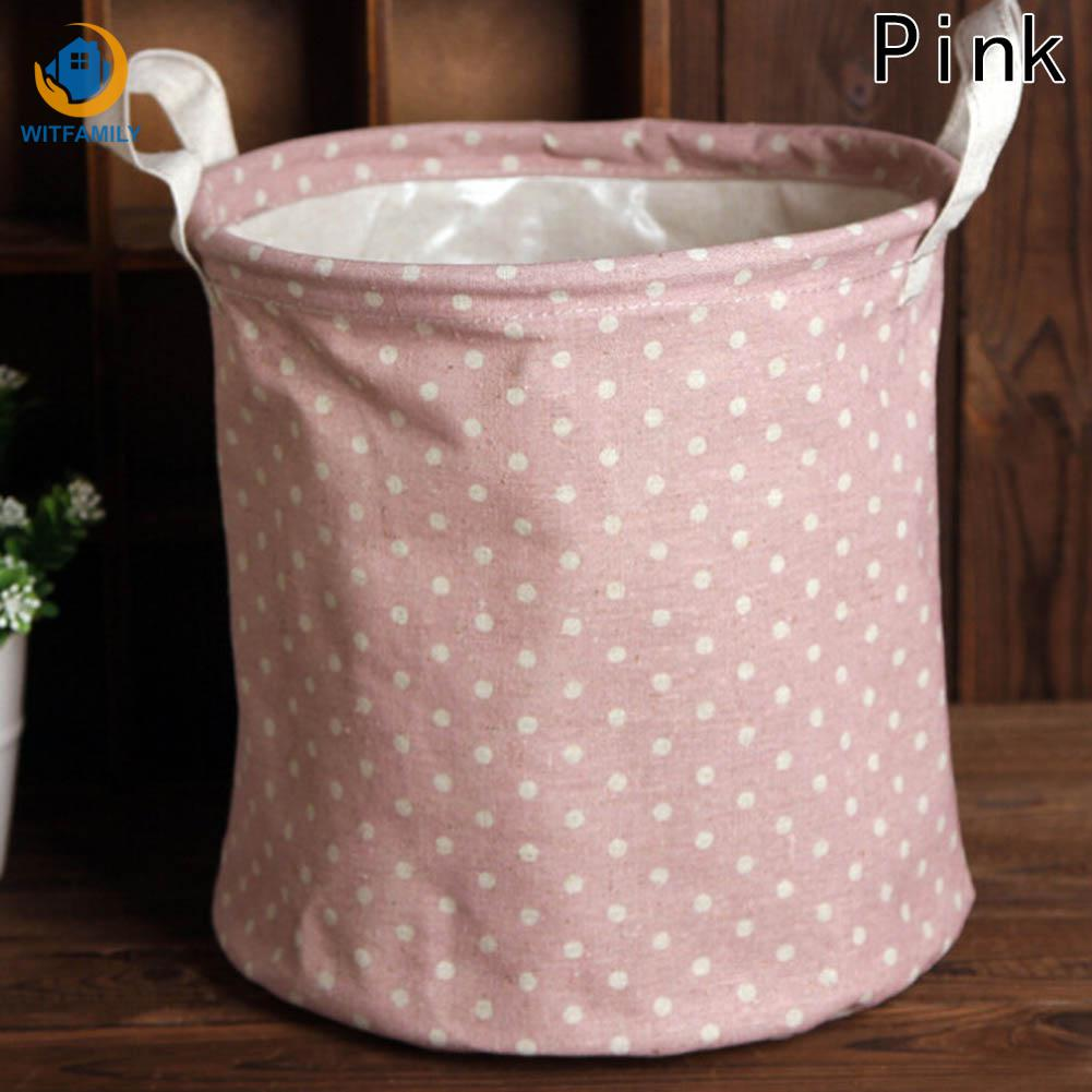 Simple Polka Dot Linen Storage Basket For Toys Small Laundry Bags Basket For Underwear Table Makeup Storage Box
