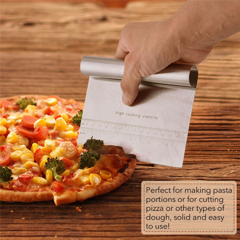 1PC Pizza Cutter Stainless Steel Bakeware Dough Scraper Kitchen Baking Tools Cake Edge Side Decoration Smoother Polisher