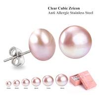6pair Genuine Freshwater Pink White Natural Pearl Earrings Set Stud Earrings Set For Women Super Deal