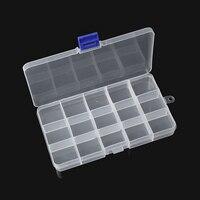 Doreen Caja de Plástico Ajustable Bolas Organizador Caja de Almacenamiento de Contenedores Rectángulo Transparente 18x10.5 cm, 1 UNID (15 compartimentos) 2017 nuevo
