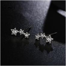 Gemei 100% 925 Sterling Silver Gold/silver Color Star Cubic Zirconia Big Stud Earrings For Women Fashion Party Jewelry
