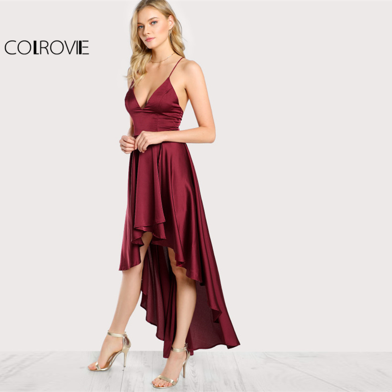 Image 4 - COLROVIE Party Dress Deep V Neck Spaghetti Strap Sleeveless Maxi Dress Asymmetrical Crisscross Backless High Low Cami Dress-in Dresses from Women's Clothing