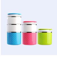 Portable Stainless Steel Japanese Bento Box Candy Color Thermos For Food With Containers Lunch Box Dinnerware