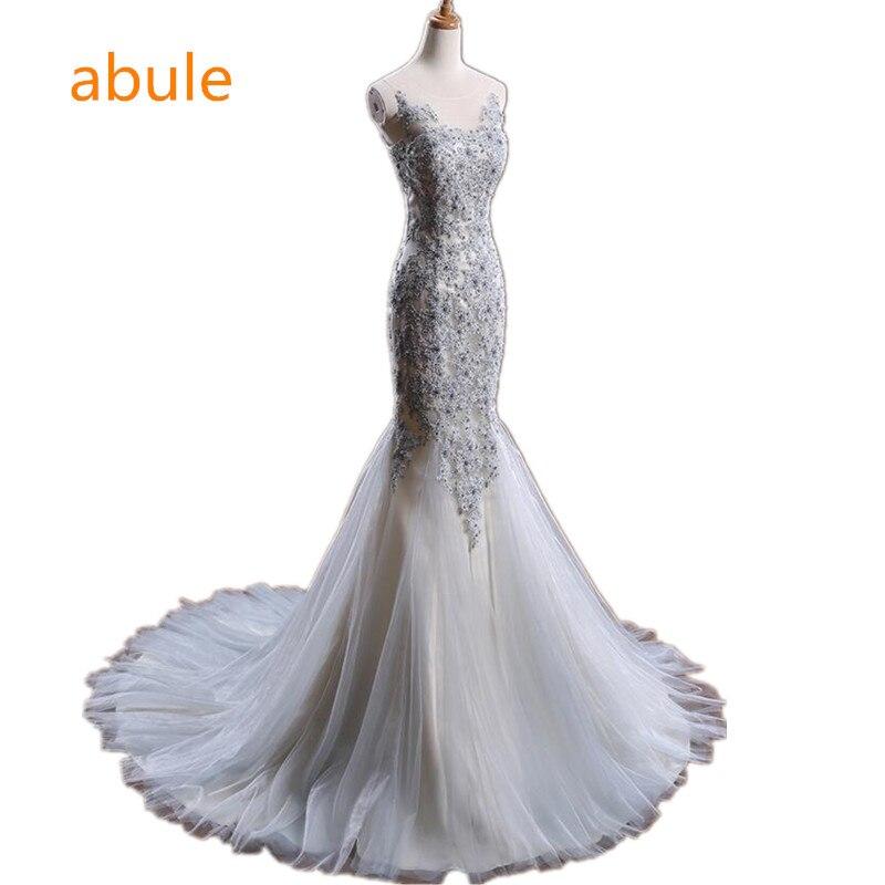 abule Luxury Mermaid Bröllopsklänning Utsökta Pärlor Beaded Spets Tulle Golv Långt Tåg Brud Bröllop Klänningar Blå Arabiska