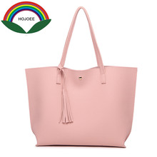 HOJOEE luxury brand women s handbags leather topHandle a bag women tote tassel casual high quality