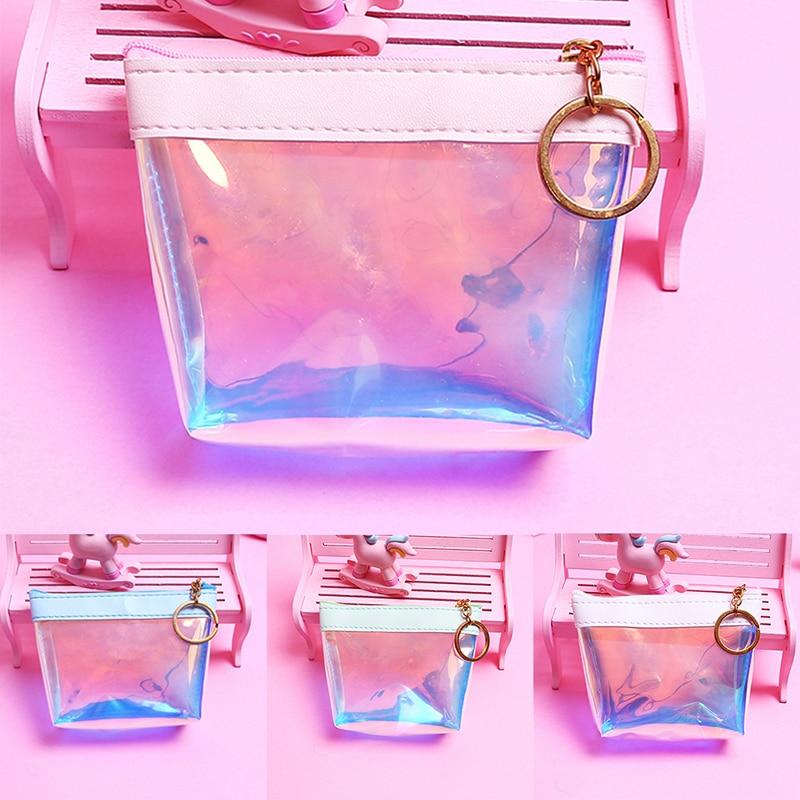 1 Stücke Transparent Geldbörse Mini Kinder Tasche Frauen Kleine Brieftasche Weibliche Ändern Geldbörsen Brieftaschen Schlüssel Karte Halter Pvc Hand Taschen