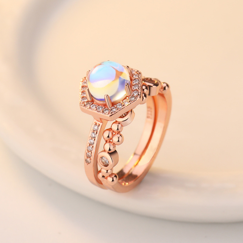 silver jewelry luxury wedding bridal ring set rose gold color moonstone promise engagement women rings in Wedding Bands from Jewelry Accessories