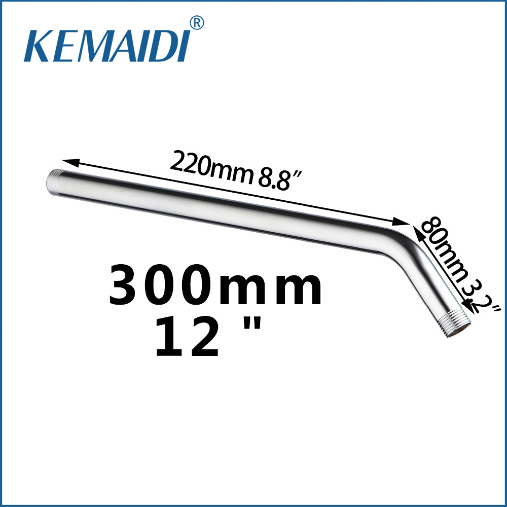 KEMAIDI Finished Chrome Stainless Steel Shower Banho Arm 5621-30 Wall Mount 30cm Rainshower Arm Shower Head Extension Pipe