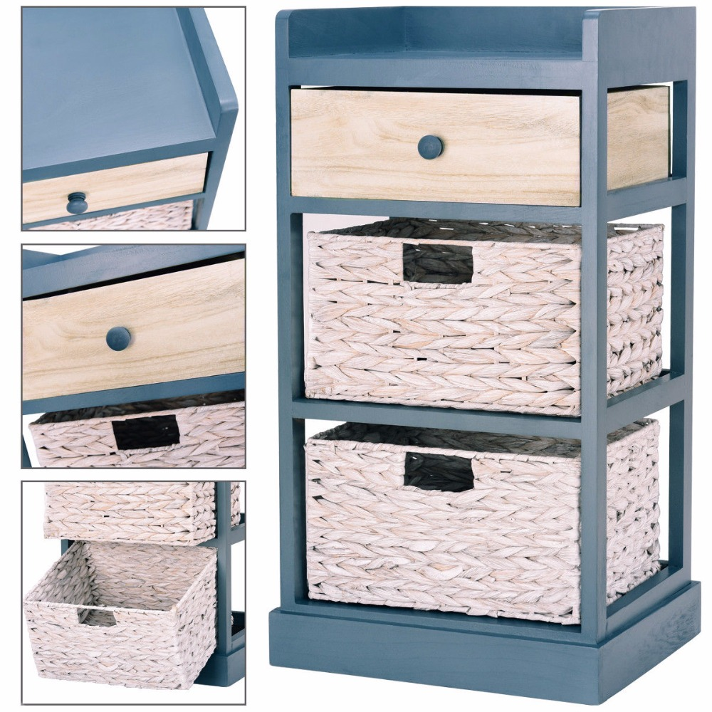 Giantex Bedside Table Nightstand Chest Cabinet Storage Organizer w/1 Drawer and 2 Basket Bedroom Furniture HW57417