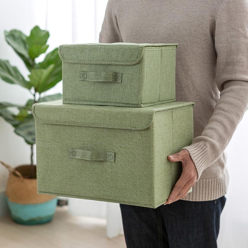 Square Collapsible Canvas Storage Box Foldable Kids Toys: New Portable Folding Square Cotton Linen Storage Box