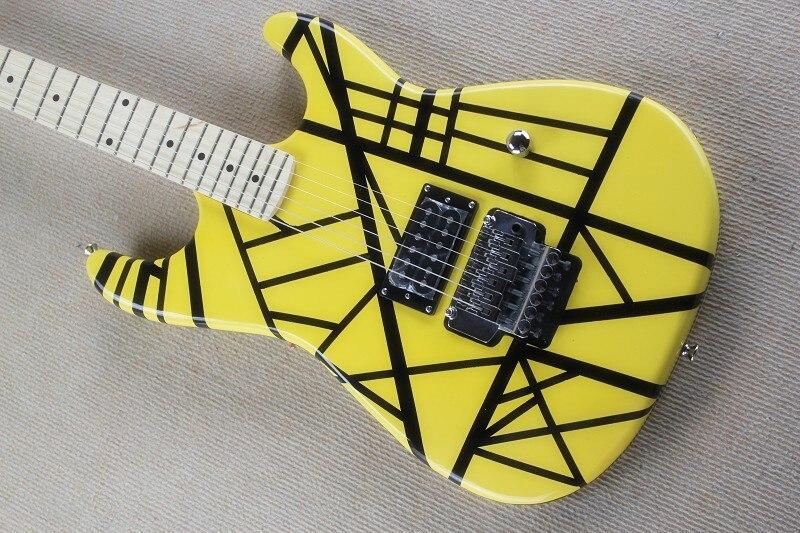 Free shipping Kramer EVH electric guitar 22 fret black stripe yellow electric guitar --15-6-25--Free shipping Kramer EVH electric guitar 22 fret black stripe yellow electric guitar --15-6-25--