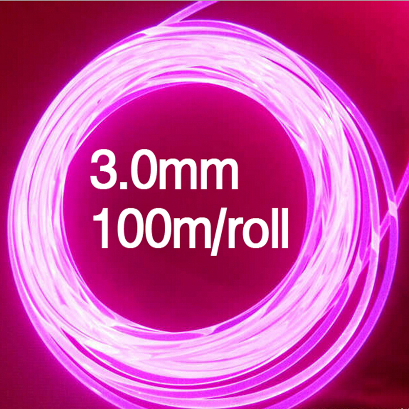 Side Glow Plastic fiber optical 100m roll 3 0mm LED lights Cable for Car Decorative lighting