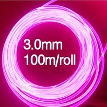 사이드 글로우 플라스틱 섬유 광학 100 m/롤 3.0mm led 조명 케이블 자동차 장식 조명 광섬유 와이어
