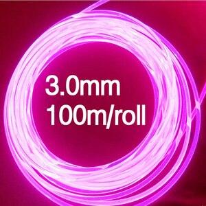 Image 1 - Boczna poświata włókno z tworzywa sztucznego optyczne 100 m/rolka 3.0mm LED lights kabel do samochodu oświetlenie dekoracyjne światłowody drut