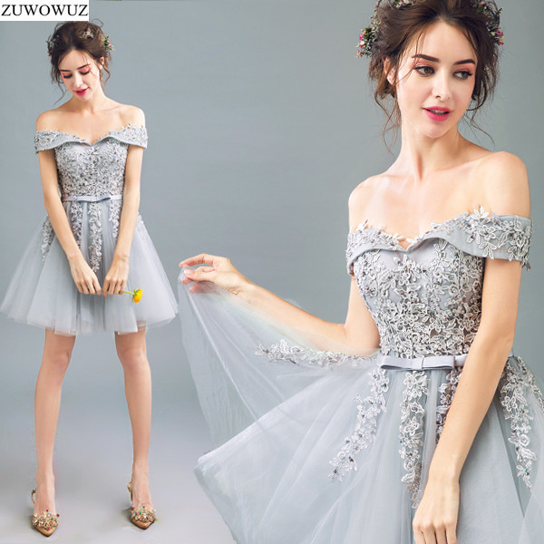 2017 new arrival stock maternity plus size bridal gown evening dress grey  silver short for party over sex short lace gala 286 c0944b500270