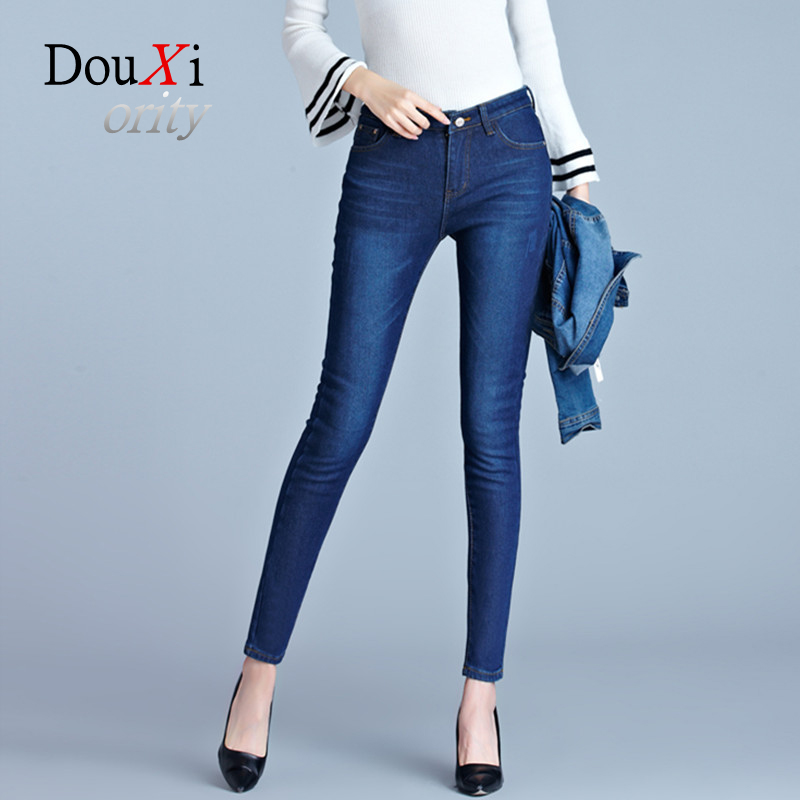 Douxiority Autumn And Winter Women High Waist Jeans Plus Cashmere Jeans Thicken Woman pencil Pants feminino denim 2017 autumn and winter boys pants 2015 new winter fashion star patch with good taste three oxford cashmere waist jeans code