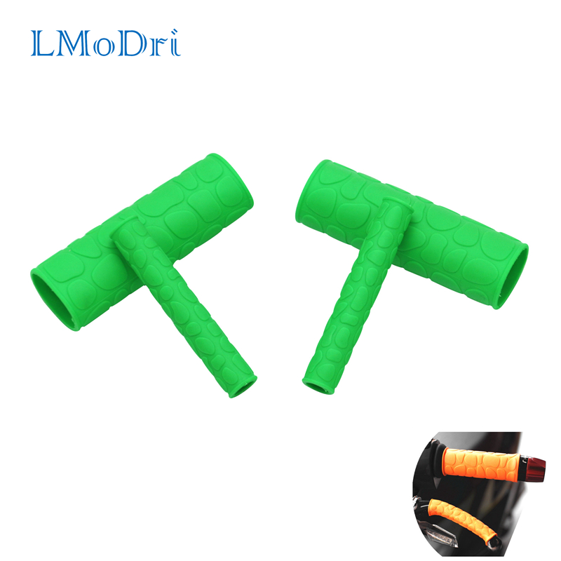 LMoDri 1 Pair Motorcycle Handle Grips Cover With Pattern And 1 Pair Handbrake Lever Covers Motorcycle Scooter E-bike Universal