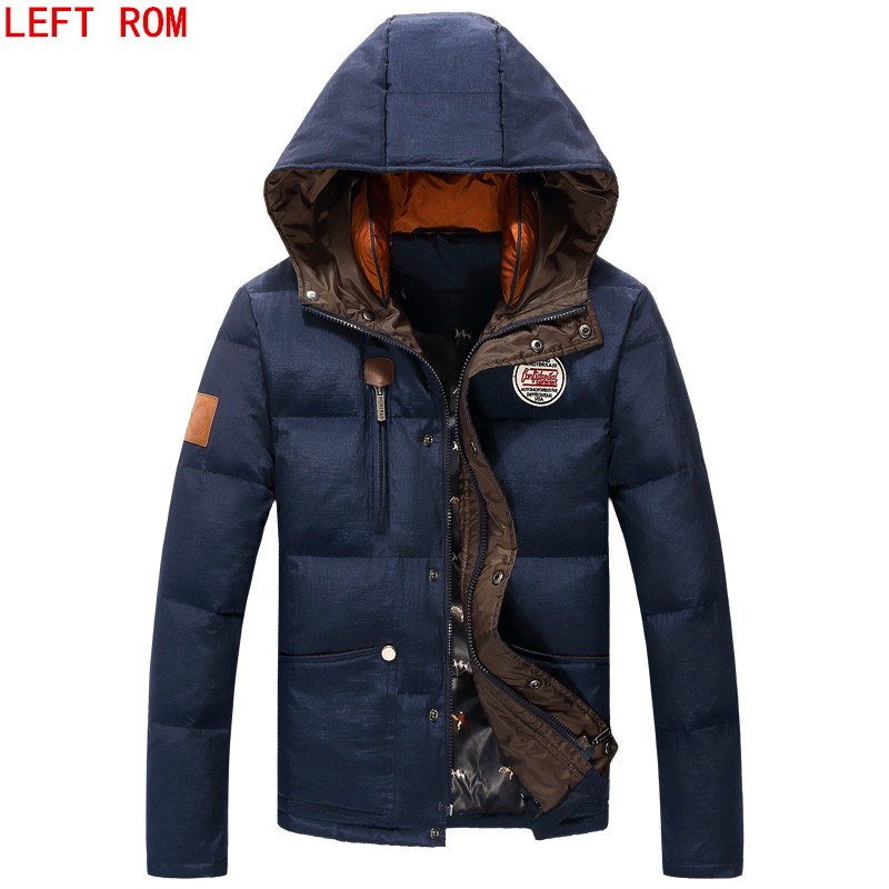 2017Mens Down Jacket Solid Colors Autumn And Winter Jacket Men Duck Down Hooded Thick Clothing Male Casual Zipper Coats