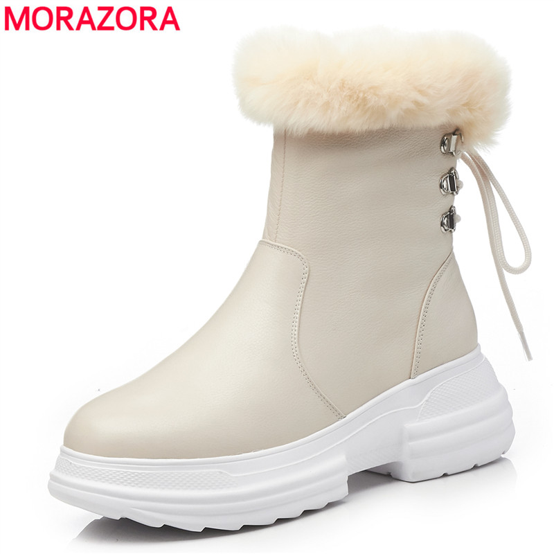 MORAZORA 2018 top quality genuine leather snow boots round toe zipper lace up platform shoes wool women winter boots shoes цена 2017