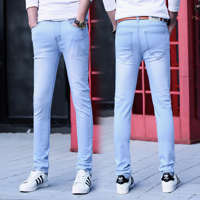 9c7a9e315e0 Fashion Brand Men s Skinny Jeans Man Classic Slim Fit Stretch Jeans Tight Denim  Jean Mens Light blue Pencil Jeans Pants For Male-in Jeans from Men s ...