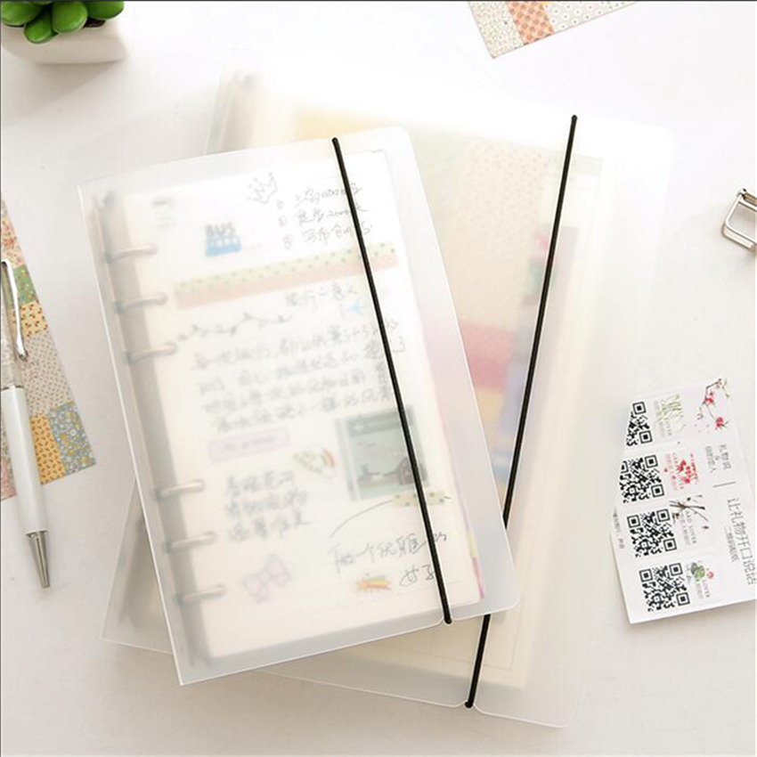 6 Holes Translucent PP Loose Leaf Spiral Binder Matte Notepad Camp for Notebook A5 A6 A7 Accessories Stationery Supplies