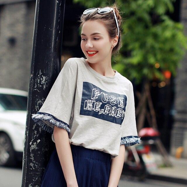 Nueva Llegada de La Manera Mujeres Del Verano Camiseta de Manga Corta Harajuku Loose Top Camisetas Más El Tamaño de Las Mujeres T-Shirt