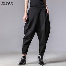 XITAO בתוספת גודל נשים סתיו חורף מכנסיים אישיות אלסטי מותניים שחור הרמון מכנסיים גאות מזדמן איחה מכנסיים חדש XWW3091