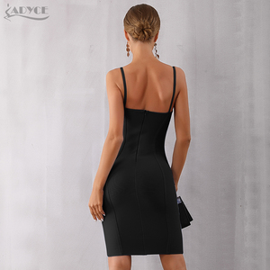 Image 5 - Adyce 2020 New Summer Blue Bodycon Bandage Dress Women Sexy Spaghetti Strap Strapless Knee Length Celebrity Evening Party Dress