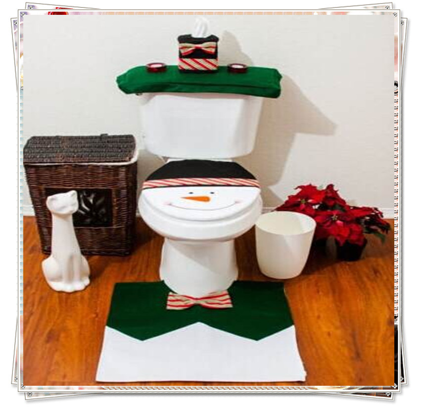 2017 3pcs Set Snowman Christmas Bathroom Toilet Seat Cover Rug Xmas Decoration Bath Mat Holder Closestool Lid In From Home