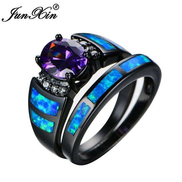 Junxin Fashion Women Purple Ring Set Blue Fire Opal Wedding Ring