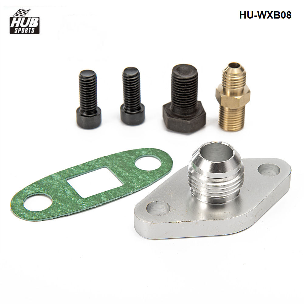T3 T4 Male 10AN AN-10-10 AN10 Turbo Oil Drain Outlet Flange Gasket Adapter Kit