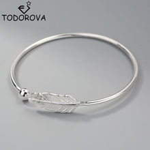 Todorova Korean Small Ball Feather Bracelets & Bangles for Women Cuff Femme Adjustable Open Leaf Bangles Jewelry(China)