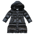 Girl 100% Down Winter Jackets Coat For 3-4 Age Long Extra Thick Warm Children's winter Clothing Outerwear &Coats Down Jacket 010